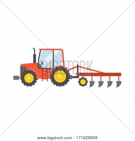red tractor with plow for planting crops icon isolated on white background,flat design vector illustration