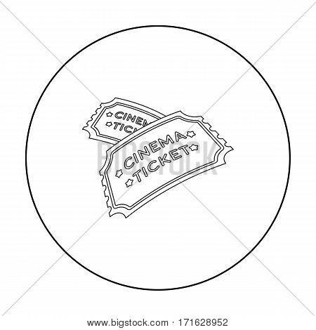 Ticket icon in outline style isolated on white background. Films and cinema symbol vector illustration.