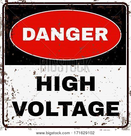 High Voltage Danger Sign. Stock Vector illustration