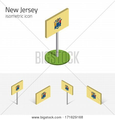 Flag of New Jersey (State of New Jersey, USA), vector set of isometric flat icons, 3D style, different views. Editable design element for banner, website, presentation, infographic, map, card