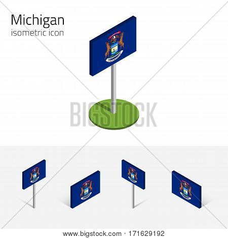 Flag of Michigan (State of Michigan, USA), vector set of isometric flat icons, 3D style, different views. Editable design element for banner, website, presentation, infographic, poster, map