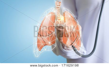 Doctor listens to the lungs concept design.