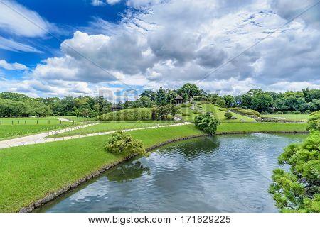 Korakuen Japanese garden in Okayama, major city of Japan