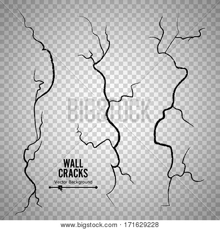 Wall Cracks Vector. Transparent Checkered Background. Rough Effect, Surface Break