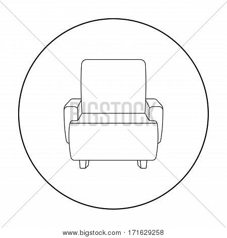 Cinema armchair icon in outline style isolated on white background. Films and cinema symbol vector illustration.