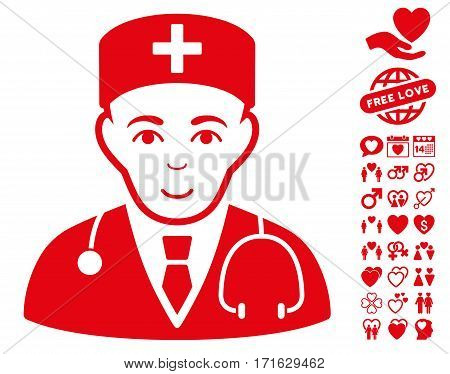 Physician pictograph with bonus decorative pictograms. Vector illustration style is flat iconic red symbols on white background.