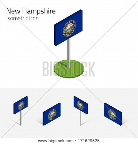 Flag of New Hampshire (State of New Hampshire, USA), vector set of isometric flat icons, 3D style. Editable design element for banner, website, presentation, infographic, poster, map, collage