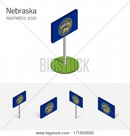 Flag of Nebraska (State of Nebraska, USA), vector set of isometric flat icons, 3D style, different views. Editable design element for banner, website, presentation, infographic, poster, map, collage