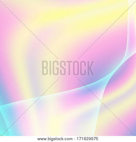 Fluid Iridescent Multicolored Vector. Illustration Of Pastel Fluids, Holographic Neon Effect.