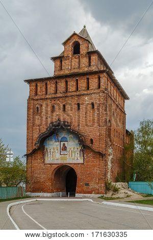 Pyatnitsky Gate is the main front gate of Kolomna Kremlin Russia