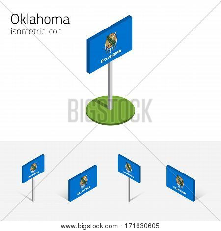 Flag of Oklahoma (State of Oklahoma, USA), vector set of isometric flat icons, 3D style, different views. Editable design element for banner, website, presentation, infographic, poster, map.