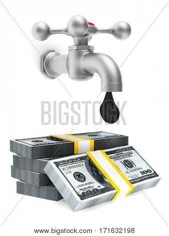 concept oil production on white background. Isolated 3D image