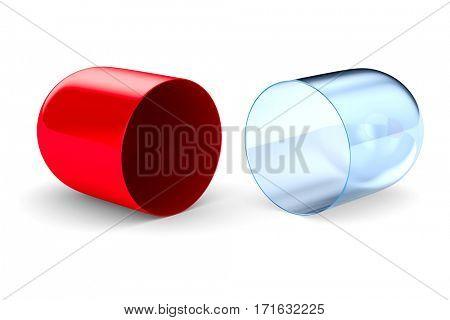 capsule on white background. Isolated 3D image