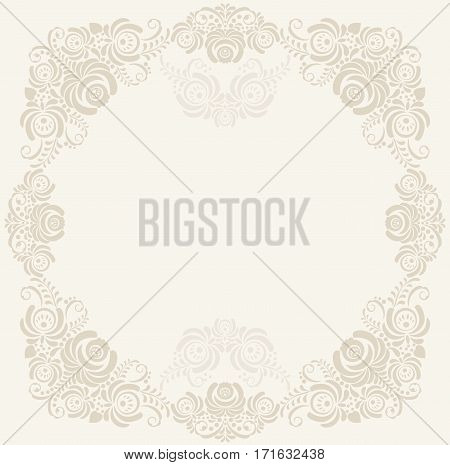 Elegant beige background with decorative russian khokhloma postcard frame