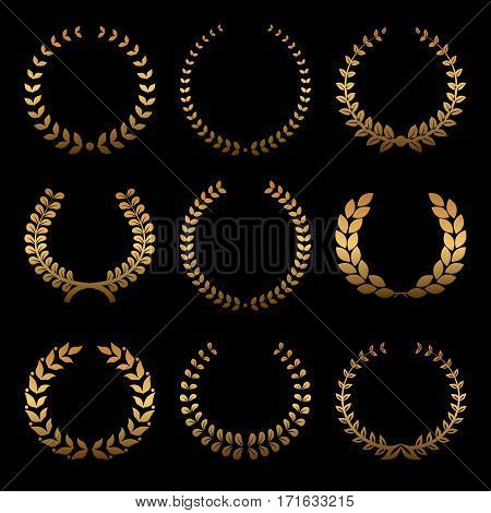 Gold award wreaths, laurel on black background. Vector illustration