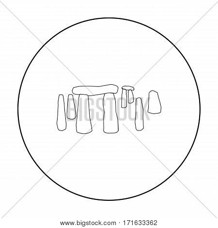 English stone monument icon in outline style isolated on white background. England country symbol vector illustration.