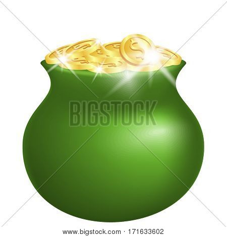 Green pot with shiny gold coins isolated on white background. St Patricks days celebration concept. Vector Illustration