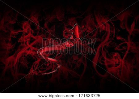 Love Concept. Arrow With Love Written On It Showing The Way On Black Background Full Of Red Smoke 3D