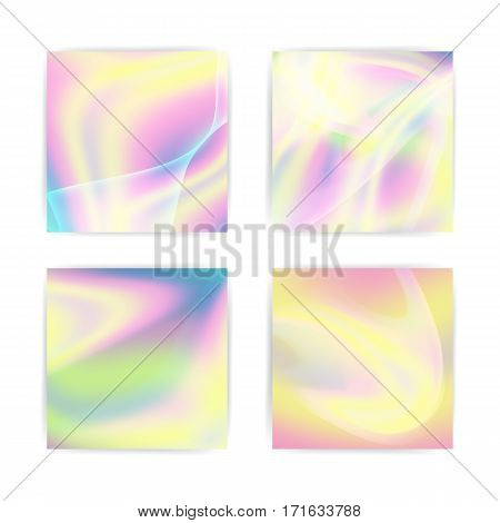 Fluid Iridescent Multicolored Vector Background. Pearlescent Texture. Design Element In Pastel Hues With Holographic Effect