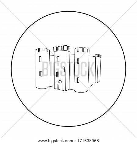 English castle icon in outline style isolated on white background. England country symbol vector illustration.