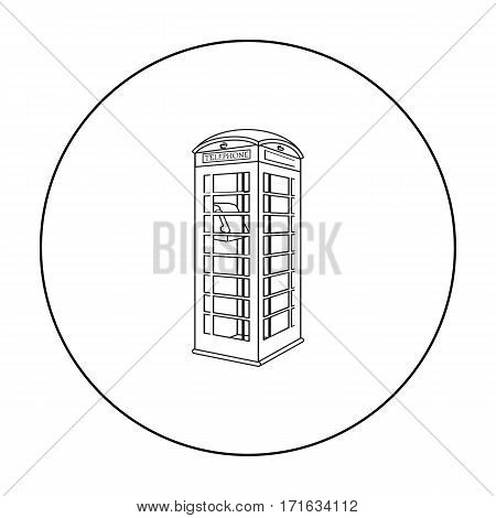 Red phone cabin icon in outline style isolated on white background. England country symbol vector illustration.