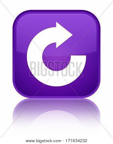 Reply Arrow Icon Shiny Purple Square Button