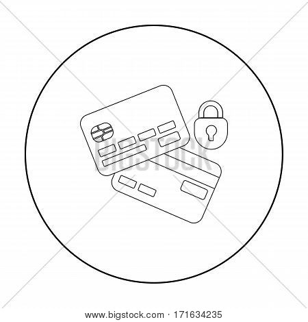 Credit Card Security icon in outline style isolated on white background. E-commerce symbol vector illustration.