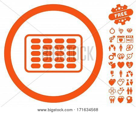Blister pictograph with bonus marriage pictures. Vector illustration style is flat iconic orange symbols on white background.
