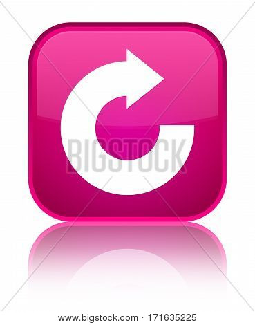 Reply Arrow Icon Shiny Pink Square Button