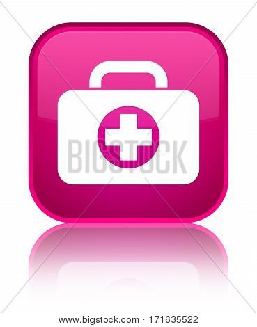 First Aid Kit Bag Icon Shiny Pink Square Button
