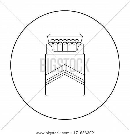 Pack of cigarettes icon in outline style isolated on white background. Drugs symbol vector illustration.