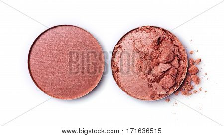 Round Beige Crashed Eyeshadow For Makeup As Sample Of Cosmetic Product