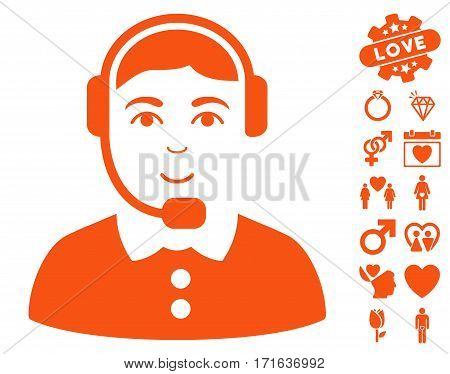 Call Center Operator icon with bonus dating design elements. Vector illustration style is flat iconic orange symbols on white background.