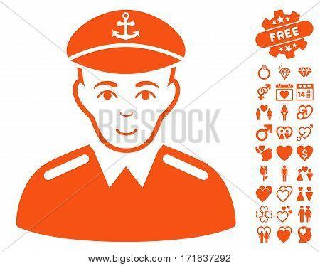 Captain pictograph with bonus passion graphic icons. Vector illustration style is flat iconic orange symbols on white background.