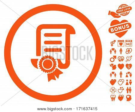 Certified Scroll Document pictograph with bonus valentine clip art. Vector illustration style is flat iconic orange symbols on white background.