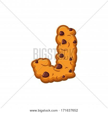 J Letter Cookies. Cookie Font. Oatmeal Biscuit Alphabet Symbol. Food Sign Abc