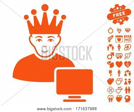 Computer Moderator pictograph with bonus lovely graphic icons. Vector illustration style is flat iconic orange symbols on white background.