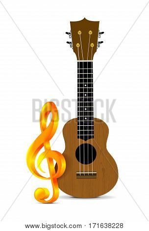 Ukulele - Hawaiian musical instrument. Vector illustration on white background with treble clef