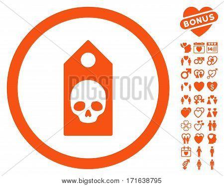 Death Coupon pictograph with bonus romantic design elements. Vector illustration style is flat iconic orange symbols on white background.