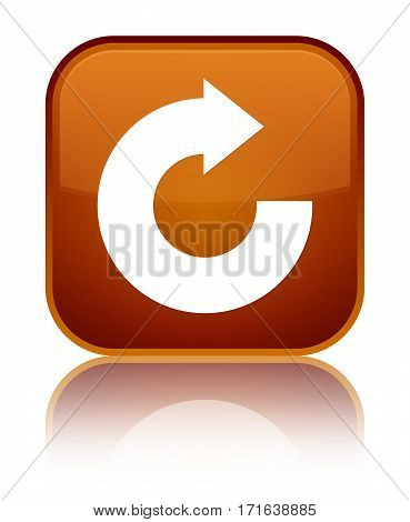 Reply Arrow Icon Shiny Brown Square Button