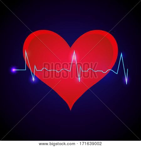 Vector Illustration of a Cardiac Frequency with red heart back on dark blue background.