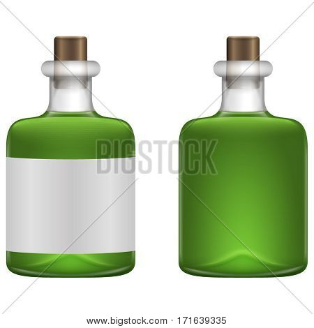 Realistic glass bottles with green beverage in white background. Vector illustration. Green beverage in glass bottle. St Patrick day symbol
