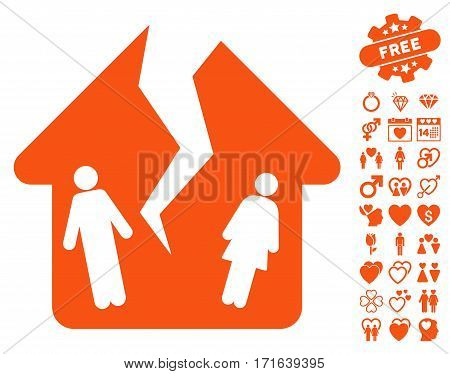 Divorce House pictograph with bonus love symbols. Vector illustration style is flat iconic orange symbols on white background.