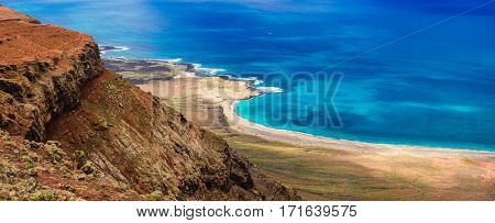wild beautiful beaches of volcanic island Lanzarote, Canary islands