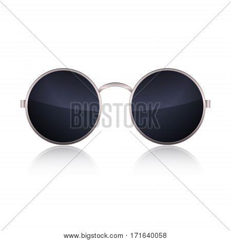 Round Glasses isolated on white background. Vector illustration