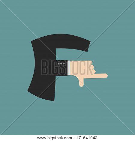F Letter Businessman Hand Font. It Shows Finger Print. Arm Symbol Alphabet. Sign Of Abc