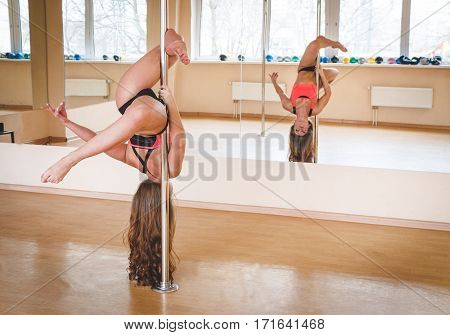 Pole Dancer, Girl Posing Near Pylon