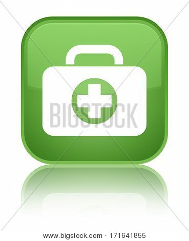 First Aid Kit Bag Icon Shiny Soft Green Square Button