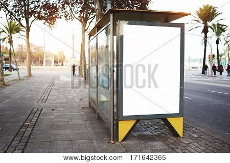 Blank electronic advertising board with empty copy space screen for your text message or promotional content clear banner in urban setting empty poster on a bus stop public information billboard