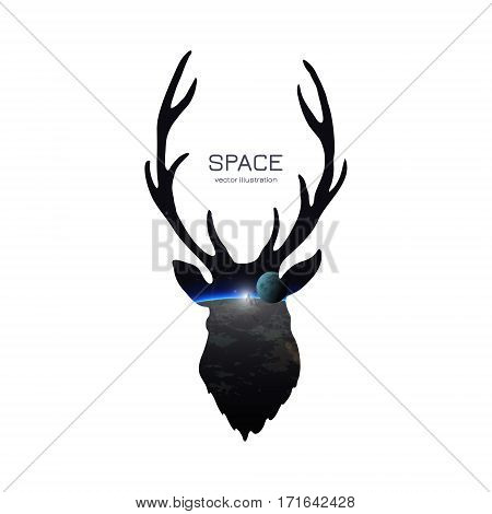 Deer Silhouette isolated on white background. Vector illustration